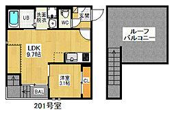名古屋市営上飯田線 上飯田駅 徒歩4分の賃貸アパート 2階1LDKの間取り