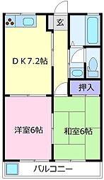 レヂオンス北野田参番館 2階2DKの間取り