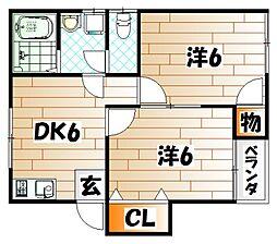 カーサまるみ6号[2階]の間取り