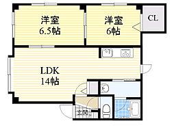北海道札幌市北区北33条西6丁目の賃貸アパートの間取り