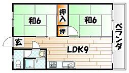 亀川ハイツ[406号室]の間取り