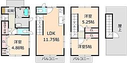 [一戸建] 東京都葛飾区高砂8丁目 の賃貸【東京都 / 葛飾区】の間取り