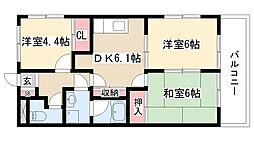 愛知県名古屋市緑区大将ヶ根1丁目の賃貸アパートの間取り