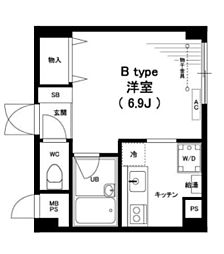神奈川県横浜市青葉区藤が丘2の賃貸マンションの間取り