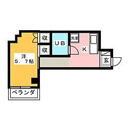 恵マンション 3階1Kの間取り