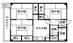 大里東マンション[3階]の間取り