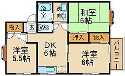 兵庫県宝塚市川面4丁目の賃貸アパートの間取り