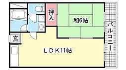 メゾン岡本[3B号室]の間取り