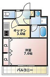ワンハイム 2階1Kの間取り