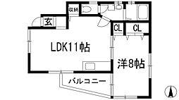 兵庫県川西市花屋敷1丁目の賃貸アパートの間取り