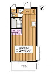 東京都調布市東つつじケ丘2の賃貸アパートの間取り