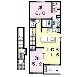 東梶返4丁目アパートA[203号室]の間取り