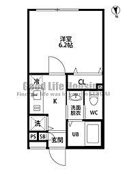 仙台市営南北線 愛宕橋駅 徒歩7分の賃貸マンション 4階1Kの間取り