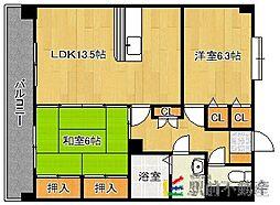 JR鹿児島本線 九産大前駅 徒歩11分の賃貸マンション 4階2LDKの間取り