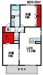 福岡県遠賀郡水巻町二西2丁目の賃貸アパートの間取り