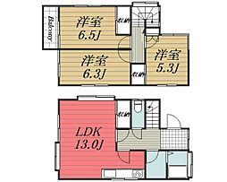 JR総武本線 八街駅 バス12分 古山入口下車 徒歩9分の賃貸一戸建て 1階3LDKの間取り