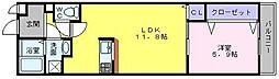 アーバンフォレスト高石 1階1LDKの間取り