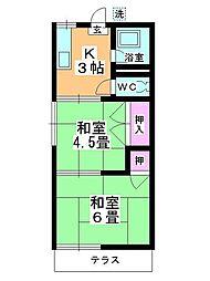 コーポ富士見野[106号室]の間取り