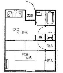 神奈川県横須賀市三春町5丁目の賃貸アパートの間取り