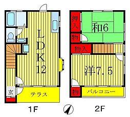 [テラスハウス] 千葉県松戸市二十世紀が丘萩町 の賃貸【千葉県 / 松戸市】の間取り