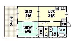 福岡県糟屋郡志免町片峰中央3丁目の賃貸アパートの間取り