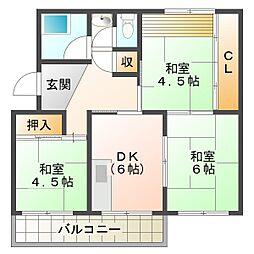南多聞台住宅8号棟[5階]の間取り