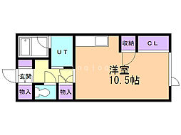 サウス54 2階ワンルームの間取り