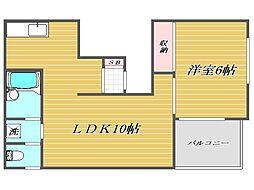 東京都板橋区蓮根2丁目の賃貸アパートの間取り