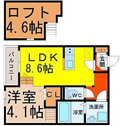 愛知県名古屋市北区生駒町5丁目の賃貸アパートの間取り