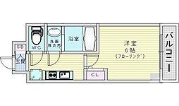 レオンコンフォート京橋イースト 13階1Kの間取り