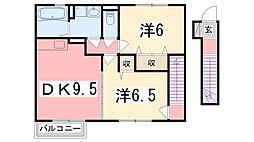 兵庫県姫路市飾磨区東堀の賃貸アパートの間取り