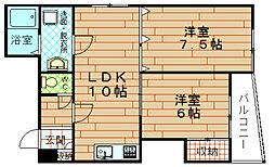 キューブ九条[5階]の間取り
