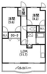 メディオ初生壱番館[4階]の間取り