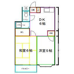 西武国分寺線 恋ヶ窪駅 徒歩8分の賃貸アパート 2階2DKの間取り