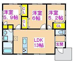 広瀬貨家 1階3LDKの間取り