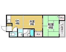 堺ハザマコーポ[2階]の間取り