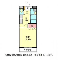 愛知県一宮市緑4丁目の賃貸マンションの間取り
