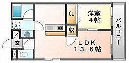岡山県岡山市北区東古松2丁目の賃貸マンションの間取り