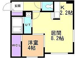 リヒトラーレ円山 2階1LDKの間取り