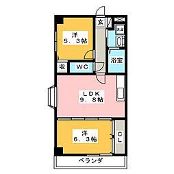 プラーンソレイユ蜜柑山III[3階]の間取り