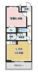 Elvita 広野中島 1階1LDKの間取り
