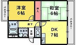 コーポ辻本 2階2DKの間取り