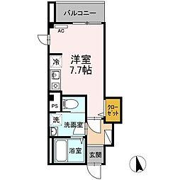 ディアコート江戸川橋 5階ワンルームの間取り