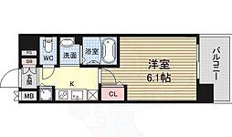 ララプレイス新大阪シエスタ 2階1Kの間取り