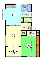 コーポアイリス[1階]の間取り