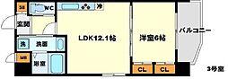 (仮称)プロスパー南吹田 7階1LDKの間取り