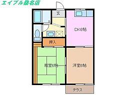 三重県桑名市福江町の賃貸アパートの間取り