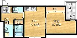 Osaka Metro谷町線 千林大宮駅 徒歩25分の賃貸マンション 3階1DKの間取り