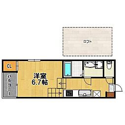 西鉄天神大牟田線 井尻駅 徒歩10分の賃貸アパート 1階1Kの間取り