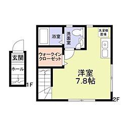 JR南武線 西国立駅 徒歩8分の賃貸アパート 2階ワンルームの間取り